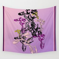 shoe Wall Tapestries featuring Ballet shoe pattern pink by Emma Stein