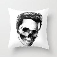 elvis presley Throw Pillows featuring Elvis Presley by Motohiro NEZU