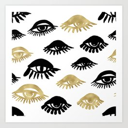 Abstract cute eyes illustration pattern.Cute hand drawn gold and black ink design elements, luxury, golden, sparkle, glitter background Art Print