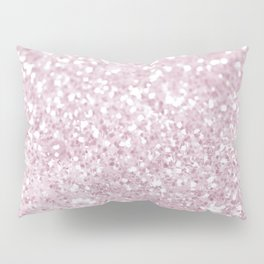 Elegant Girly Pink White Faux Glitter  Pillow Sham