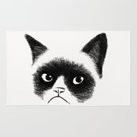 grumpy Area & Throw Rugs featuring Grumpy Cat by Tummeow