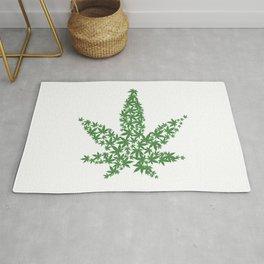 Marijuana Pot Leaf made of many cannabis weed leaves Rug