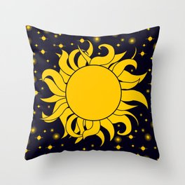 Sun & Stars Yellow Blue Space Astronomy Cosmic Throw Pillow