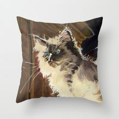 The Magnificent Ascent of the Mighty Bear Detail (Ragdoll Kitten) Throw Pillow