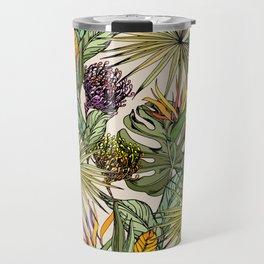 Tropical leaves and flowers Travel Mug