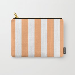 Very light tangelo - solid color - white vertical lines pattern Carry-All Pouch
