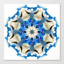 blue cows mandala Canvas Print