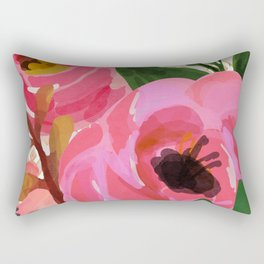 Composition watercolor flowers and rhombuses Rectangular Pillow