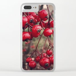 Christmas Holiday Red Berries Clear iPhone Case