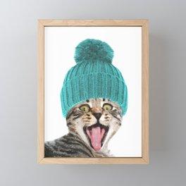 Cat with hat illustration Framed Mini Art Print