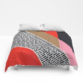 Pink Gold Red Abstract Comforters