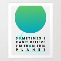 planet Art Prints featuring Planet by Matt Hunsberger