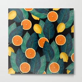 Lemons And Oranges On Black Metal Print