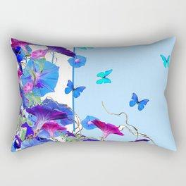 BLUE BUTTERFLIES & PURPLE MORNING GLORIES Rectangular Pillow