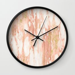Rose Gold Marble - Rose Gold Yellow Gold Shimmery Metallic Marble Wall Clock