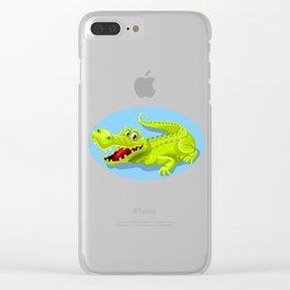 Cartoon Crocodile Vector Design Clear iPhone Case