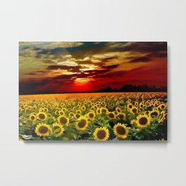 Sunflowers & Sunflower fields at Sunset oil on canvas landscape painting Metal Print