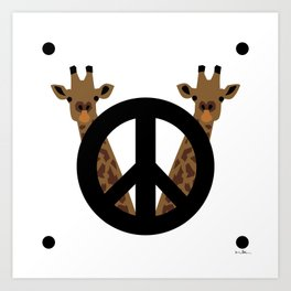 Peace and giraffes Art Print
