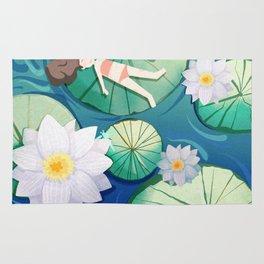 Girl Lay On Lotus Rug