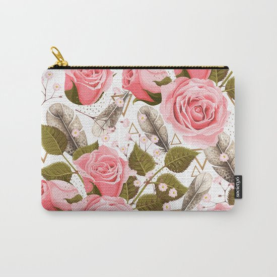 flowers with feathers Carry-All Pouch