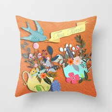 Tea Time With Flowers Throw Pillow