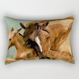 Horses - Mare and Foal Rectangular Pillow