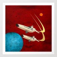 battlestar galactica Art Prints featuring Galactica by Tony Vazquez