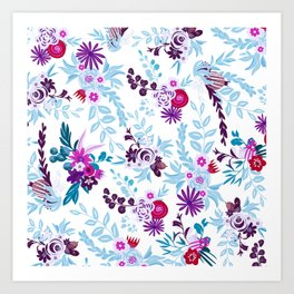 Abstract pastel blue pink country flowers pattern Art Print