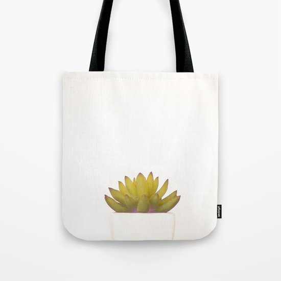 Cactus in flower pot on white background Tote Bag