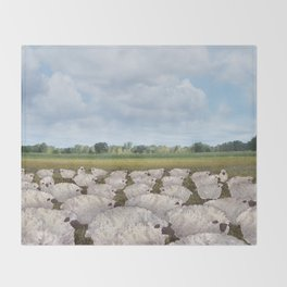 sheep in the field Throw Blanket