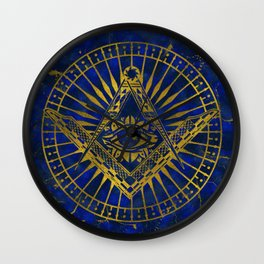 All Seeing Mystic Eye in Masonic Compass on Lapis Lazuli Wall Clock
