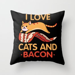 I Love Bacon And Cats Motif Throw Pillow