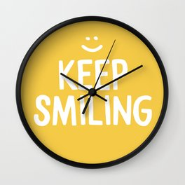 Keep Smiling Quote - Yellow Wall Clock