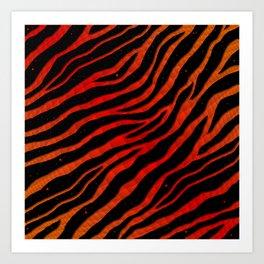 Ripped SpaceTime Stripes - Orange/Red Art Print