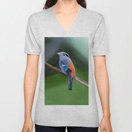 Silver-breasted broadbill Bird Unisex V-Neck