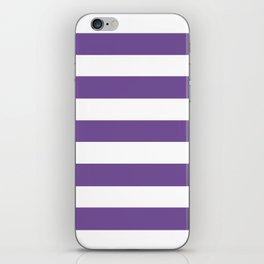 Dark lavender - solid color - white stripes pattern iPhone Skin