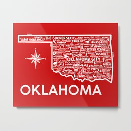 Oklahoma Map Metal Print