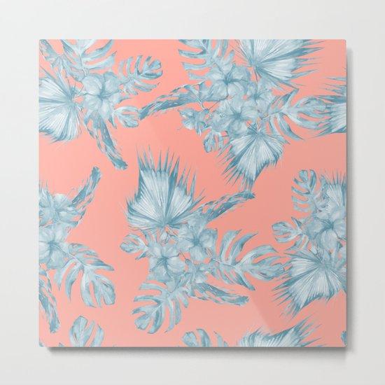 Dreaming of Hawaii Pale Teal Blue on Coral Pink Metal Print