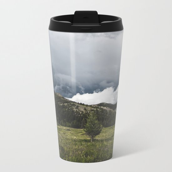 Landsape Waterton Meadow and Rolling Hills   Nature   Skyscape Clouds Metal Travel Mug