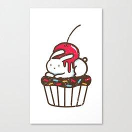 Chubby Bunny on a cupcake Canvas Print
