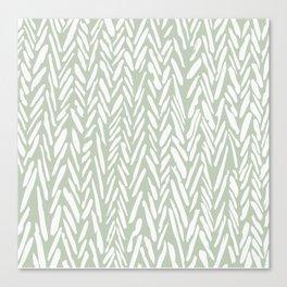 Light green herringbone pattern with cream stripes Canvas Print