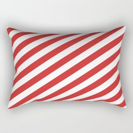 Red and White Candy Cane Stripes, Thick Angled Lines Festive Christmas Rectangular Pillow