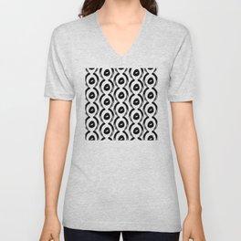 Contemporary, Modern Black and White Trendy Pattern Unisex V-Neck