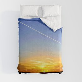 Contrail with an astonishing Sunset Comforters
