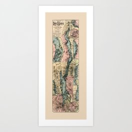 Map Of Lake George 1890 Art Print