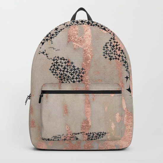Star Map on Rose Gold Marble Backpack
