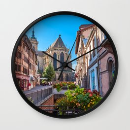 Picture France Colmar Fence Street temple Cities Building Temples Houses Wall Clock