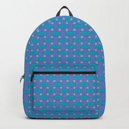 Blue Cross Hatch Weave Backpack