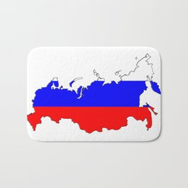 Russia Map with Russian Flag Bath Mat
