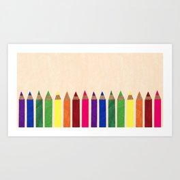rainbow pencils Art Print